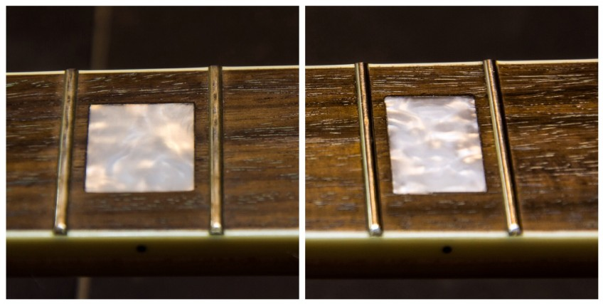 Before and after: on the left, tarnished, corroded and generally pretty sad looking frets. On the right, after a bit of steel wool treatment, you've got a guitar neck that looks as good as new again!