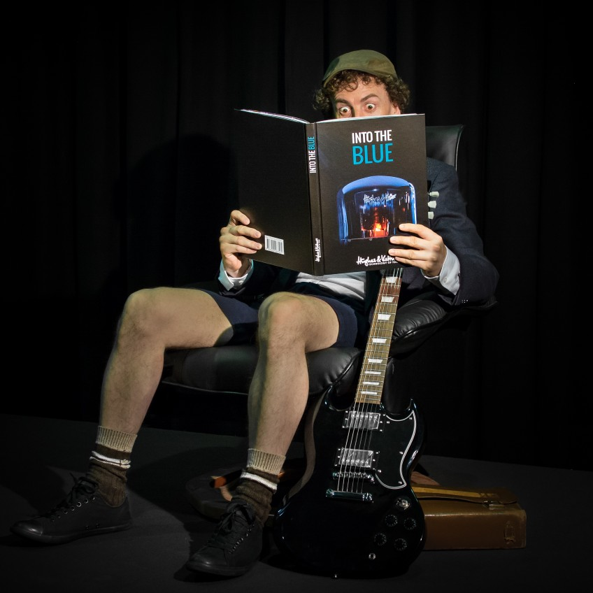 We had an awful lot of fun at this photo shoot. Plus it means as well as trying to recreate AC/DC's classic guitar sound, we've also had a go at pretending to be Angus for this pic we shot when we released our official H&K company biography: Into The Blue! Happy times...