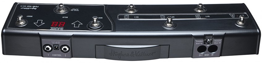 A rear view of the Hughes & Kettner FSM 432 MK III MIDI Board. Note the ports for MIDI In and Out on the right, and the Control 1 and 2 inputs (on the left), which let you connect additional controllers like expression pedals.
