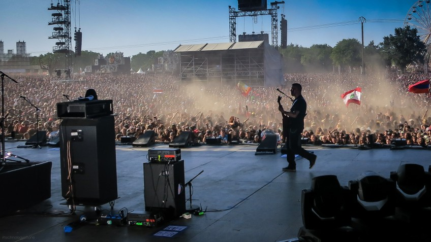 Canadian metallers Annihilator rocking the HELLFEST festival, France, in June 2014. Guitarist/vocalist Jeff Waters is playing through his GrandMeister 36 amp, which you can see is less than half the size of the bass rig next to it - but it's clearly still enough to keep this crowd of 50,000 fans happy!