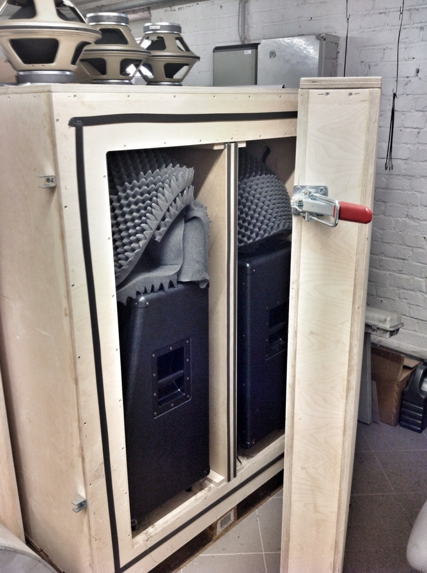 A speaker/cab testing unit at H&K HQ. Basically, we turn everything up to 11 and leave the cabs blaring over the weekend. The surrounding wooden box is filled with sand and locked in a fireproof room, so our neighbors can still sleep at night!