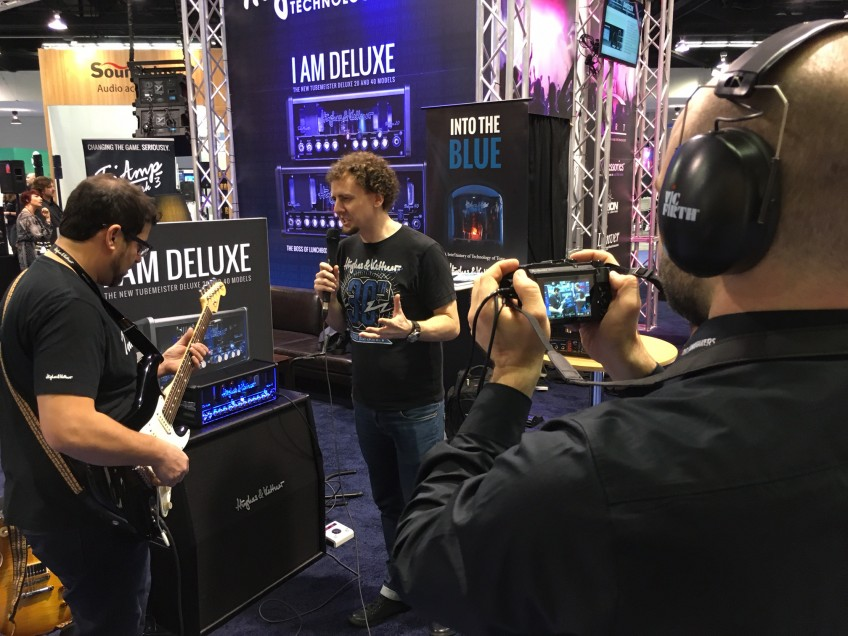 TubeMeister Deluxe and the cathode follower under the watchful eye of the world's media at the 2016 NAMM Show in Anaheim, California.