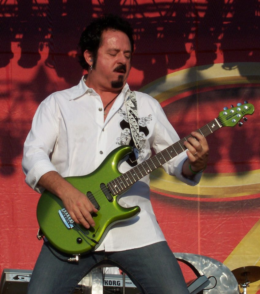 One thing's for sure: there's no way that axe can compete with Steve Lukather's playing in the tastefulness stakes! Yuck. (Photo by Pudimm, used according to the Creative Commons Attribution-Share Alike 3.0 Unported license. Attribution: Weatherman90 at the English language Wikipedia.)