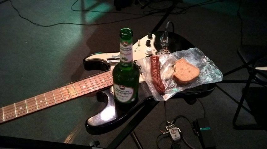 All this guitar practice might be fun kids, but don't forget to eat! The beer is of course optional, but we all know how useful such bottles can be as a makeshift guitar slide...
