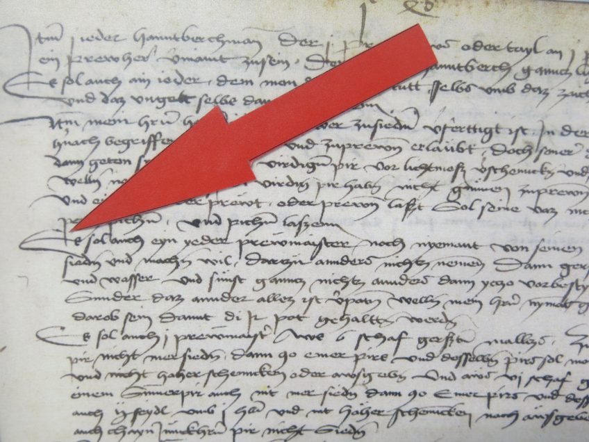 This is what the old Reinheitsgebot documents looked like. And no, we have no idea what the arrow is pointing too, but we're sure it's proper exciting stuff! (Picture by Burkhard Mücke, used under the Creative Commons Attribution-Share Alike 4.0 International license.)
