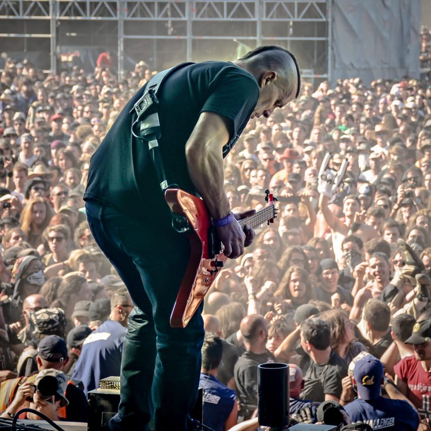 Jeff Waters of Annihilator, seizing the moment like a rock star. He was tearing up Hellfest in front of 30,000 people when we took this picture, but you wouldn't know it to look at his face! This man is zen.