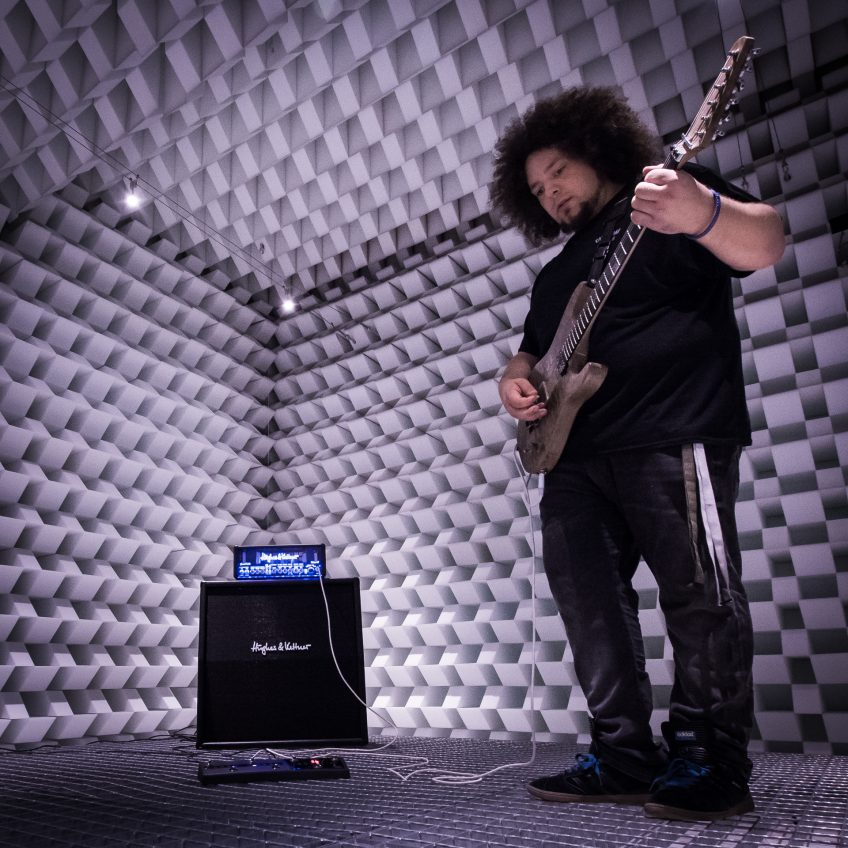Rabea Massaad trying GrandMeister Deluxe 40 in our anechoic chamber. We actually experienced a similar sonic effect to the one just described while experimenting with Rabea - check out the video below for proof!